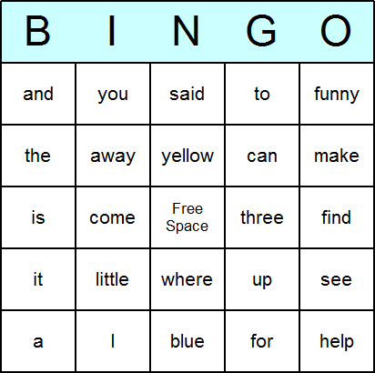 dolch pre primer bingo card
